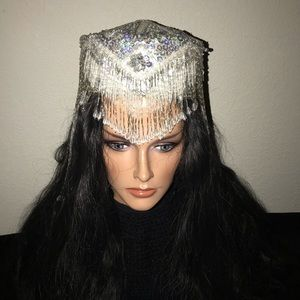 REDUCED PRICE!  Vtg beaded style hat or Cleopatra